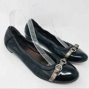 AGL Cap Toe Ballet Flats Shoes Black Leather 40.5